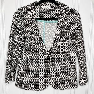 Cabi Cream Black Circle Print Button Blazer Sz 12